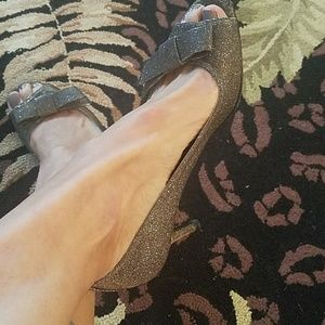 Stuart Weitzman peep toe sparkly shoes